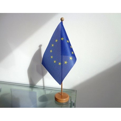 Drapeau de table Europe socle bois
