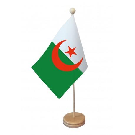 Drapeau de table Algérie socle bois
