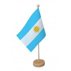 Drapeau de table Argentine socle bois