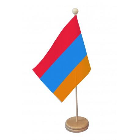 Drapeau de table Arménie socle bois