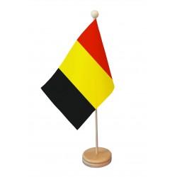 Drapeau de table Belgique socle bois