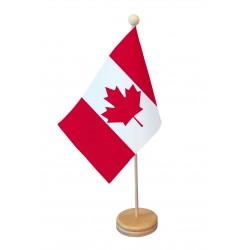 Drapeau de table Canada socle bois