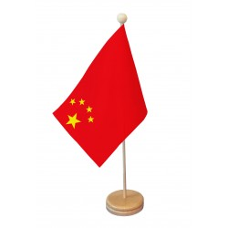 Drapeau de table Chine socle bois