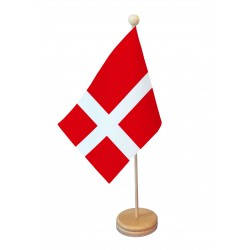 Drapeau de table Danemark socle bois