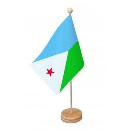 Drapeau de table Djibouti socle bois