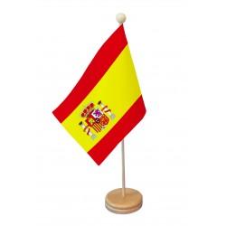 Drapeau de table Espagne socle bois