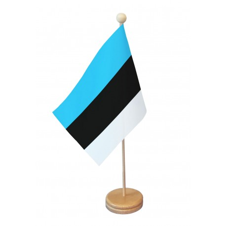 Drapeau de table Estonie socle bois