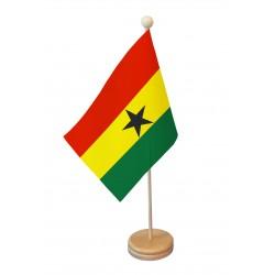 Drapeau de table Ghana socle bois