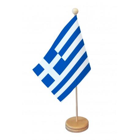 Drapeau de table Grèce socle bois