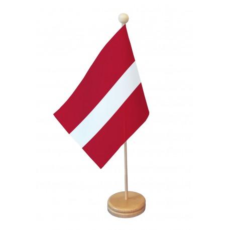 Drapeau de table Lettonie socle bois