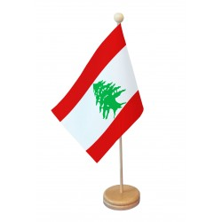 Drapeau de table Liban socle bois