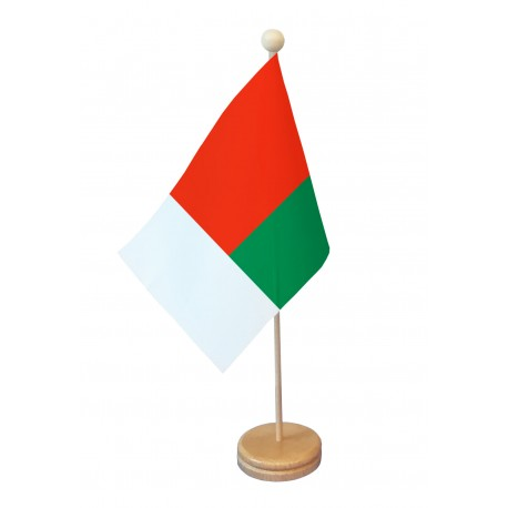 Drapeau de table Madagascar socle bois