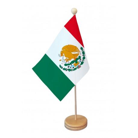 Drapeau de table Mexique socle bois
