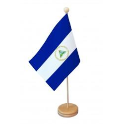 Drapeau de table Nicaragua socle bois