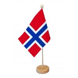 Drapeau de table Norvège socle bois