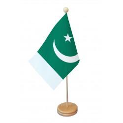 Drapeau de table Pakistan socle bois