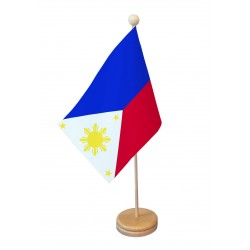 Drapeau de table Phillipines socle bois