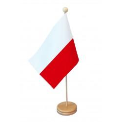 Drapeau de table Pologne socle bois
