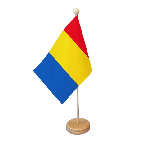 Drapeau de table Roumanie socle bois