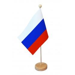 Drapeau de table Russie socle bois