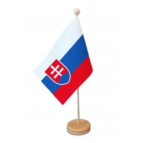 Drapeau de table Slovaquie socle bois