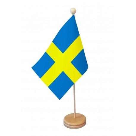 Drapeau de table Suède socle bois