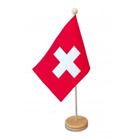 Drapeau de table Suisse socle bois