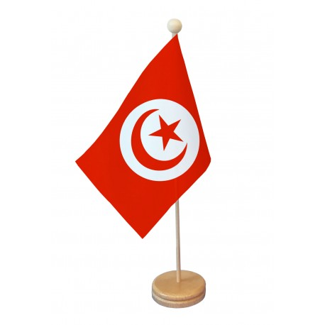 Drapeau de table Tunisie socle bois