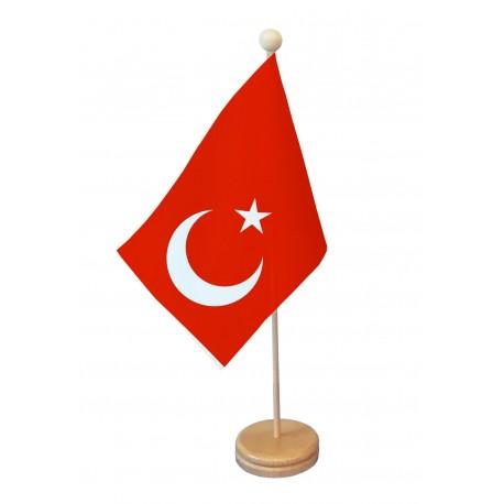 Drapeau de table Turquie socle bois