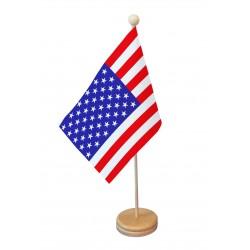 Drapeau de table Etats-Unis socle bois